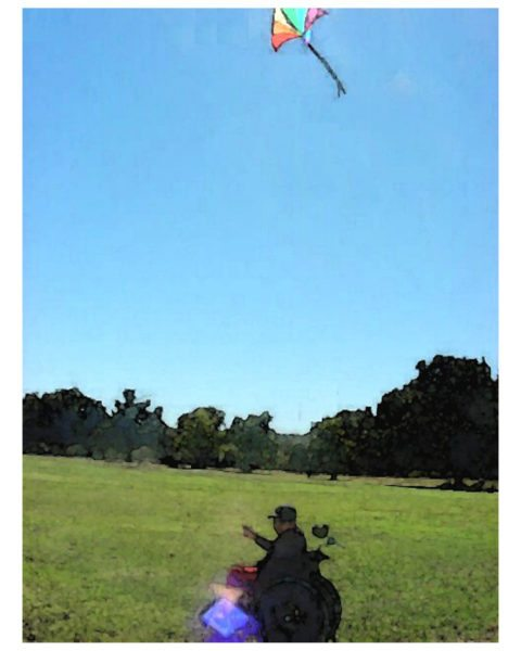 Person in wheelchair flying a kite in open green field